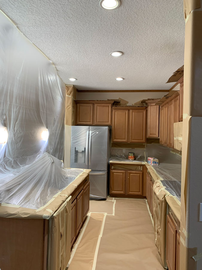 Kitchen cabinet refinish before