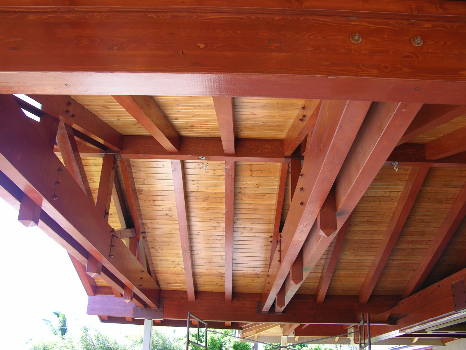 Maui ceiling after lacquer finish
